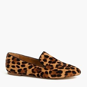 NWOT J. Crew Leopard Calf Hair Smoking Loafers